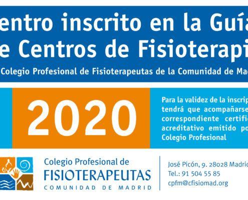 Centro inscrito en la guia de centros del colegio de fisioterapeutas de Madrid